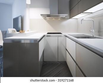 Kitchen scandinavian style. White matt furniture and acrylic countertop and backsplash. 3D render