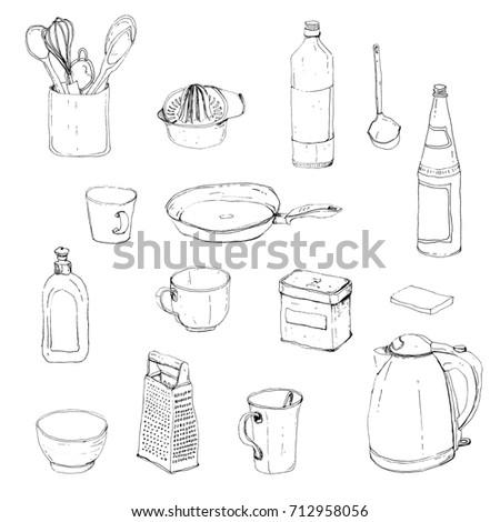 Kitchen Set Hand Draw Ink Sketch Stock Illustration 712958056