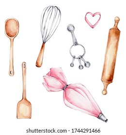 Kitchen set with wooden spoon, pastry bag,cookie cutter, rolling pin, measuring spoons; watercolor hand draw illustration; can be used for confectioner's logo or poster; with white isolated background