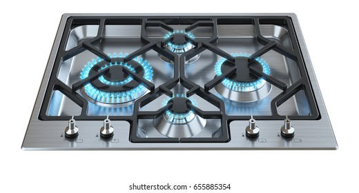 Kitchen stove with burning burners on a white background 3d