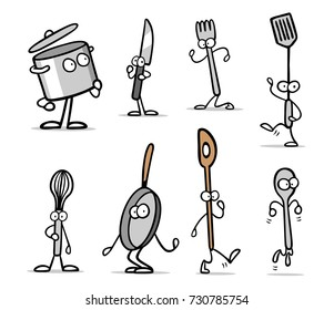 Kitchen tools cartoon character set collection