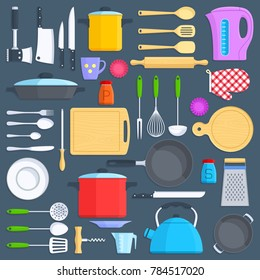 Kitchen tools, cookware and kitchenware flat icons set. Kitchenware cup and pot illustration