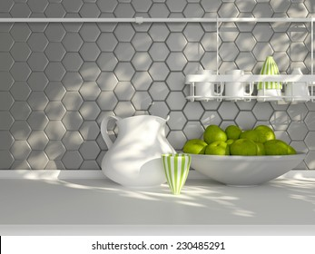 Kitchen utensils on the white worktop. Ceramic kitchenware in front of modern wall tile.