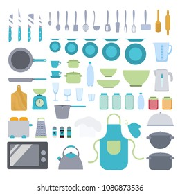 Kitchen utensils set. Pan and pot, microwave and toster, spoon and fork.