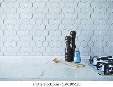 Kitchen utensils, and spices on marble work top in modern white kitchen. 3d render.