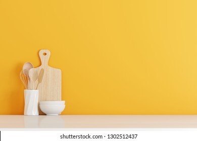 kitchen utensils with yellow wall on white table. 3d rendering