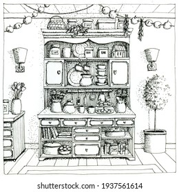 Kitchen witches cupboard with books, cups, plates.  Hand drawn ink pen illustration.