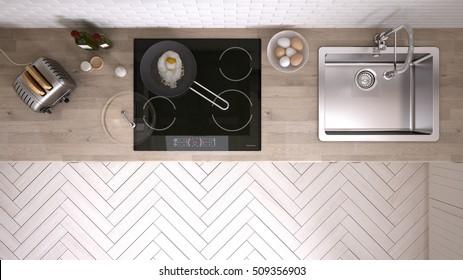 Kitchen worktop, top view, 3d illustration