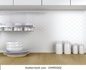 Kitchenware on the wooden worktop. White kitchen design.