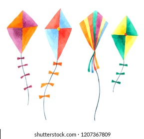 Kite watercolor collection isolated on white background . Hand drawn painting.