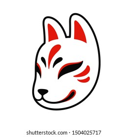 Kitsune fox mask icon, traditional Japanese symbol. Simple drawing, isolated clip art illustration.