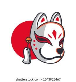 Kitsune Mask Japanese Cartoon Illustration