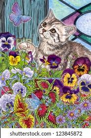 Kitty, butterflies & pansies