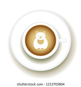 Kitty Coffee Latte art animal, Top view shape foam art of a cappuccino cup with saucer on white table background. Latte art drawing coffee cup with cute cat.