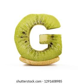 Kiwi Alphabet isolated on white background (Letter G). 3D Rendering