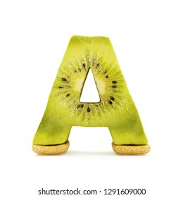 Kiwi Alphabet isolated on white background (Letter A). 3D Rendering