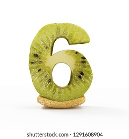 Kiwi Numbers isolated on white background (Number 6). 3D Rendering