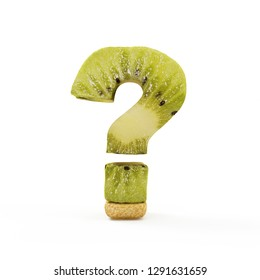 Kiwi Question Mark Symbol isolated on white background. 3D Rendering