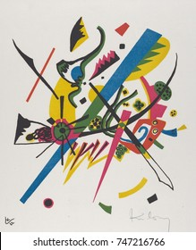 Kleine Welten I by Vasily Kandinsky, 1922, Russian German Expressionist print. This lithograph was included in the artists 1922 portfolio. Each print presents an autonomous microcosm of self-containe