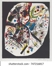 Kleine Welten III , by Vasily Kandinsky, 1922, Russian German Expressionist print. Large and small freeform areas of color, geometric shapes, and lines are the elements of this abstract lithograph