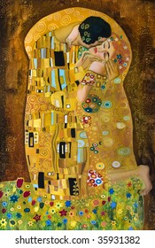 klimt inspired abstract art, batik painting on the grounds of Gustav Klimt