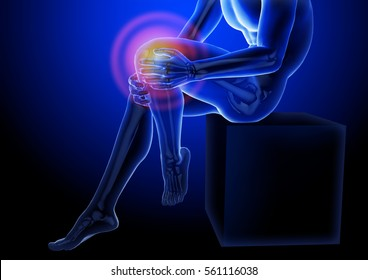Knee pain. X-ray of the skeleton and legs. Anatomical body of a seated man. 3d medical illustration