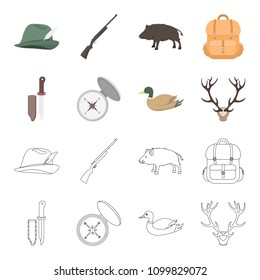 Knife with a cover, a duck, a deer horn, a compass with a lid.Hunting set collection icons in cartoon,outline style bitmap symbol stock illustration web.
