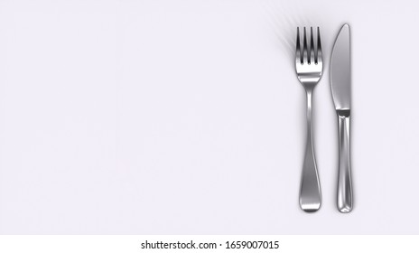 Knife and fork isolated on white background. 3D Rendering. Copy Space. Cooking icon. Symbol.