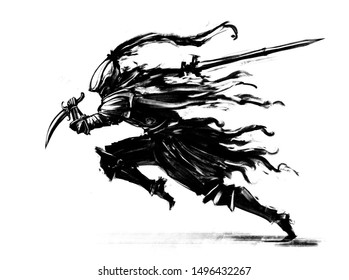Knight in armor with a sword and dagger, rushing to attack . 2D Illustrations.