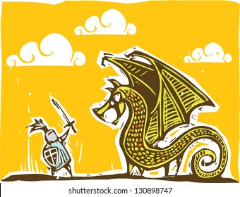 Knight in armor with sword fights a dragon
