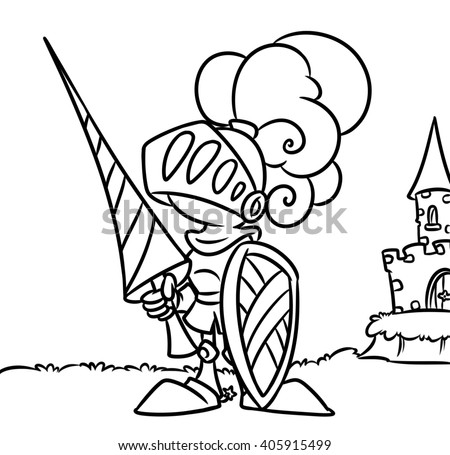 Knight Castle Coloring Pages Cartoon Illustration Stockillustration ...