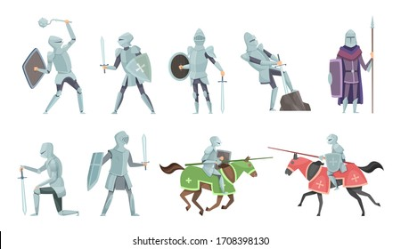 Knight. Chivalry prince medieval fighters brutal warriors on horse battle cartoon illustrations