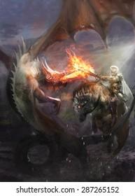 knight fighting dragon who breath fire