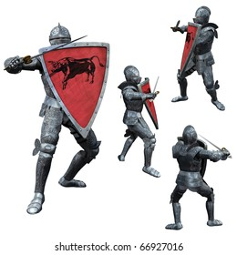 Knight in Full Armour, 3D render in multiple poses