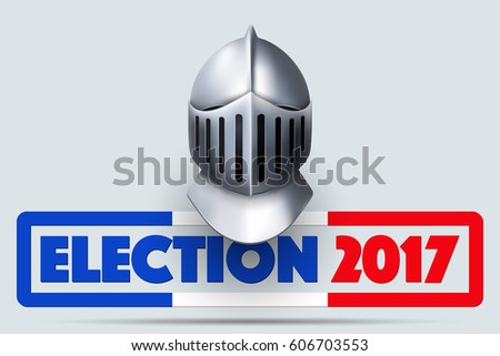 knight helmet french election 2017 symbol stock illustration