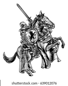A knight holding a sword and shield on the back of a rearing horse. Original illustration in a medieval vintage woodcut engraved or etched style