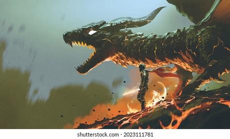 Ritter mit dem leichten Schwert in der Nähe des riesigen Feuerdrachen, digitale Kunststil, Illustrationsmalerei