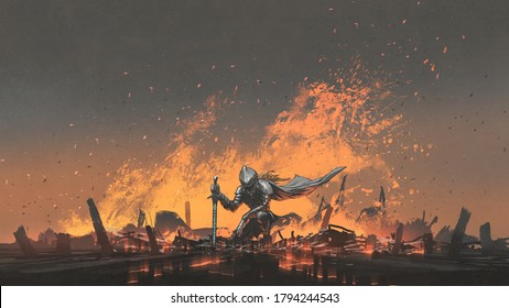 knight with the magic sword sitting on the fire, digital art style, illustration painting