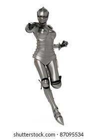 knight metal lady super pose