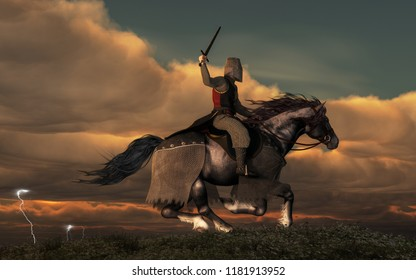 A knight on horseback charges across a field as storm in the background forks lightning and booms thunder.  The paladin wears mail armor and a bucket helmet. He holds aloft his sword. 3D Rendering