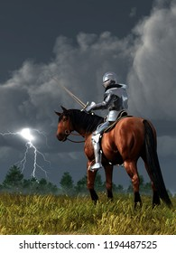 A knight on horseback in shining armor looks down at the sword in his hand as lightning strikes off in the distance.  His horse looks back at him with a worried glance.  3D Rendering