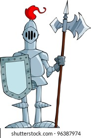 Knight on a white background, raster