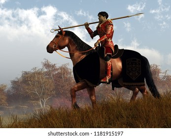 A knight in red armor rides on horseback through an autumn landscape.  Over his shoulder, he rests his trusty spear. 3D Rendering