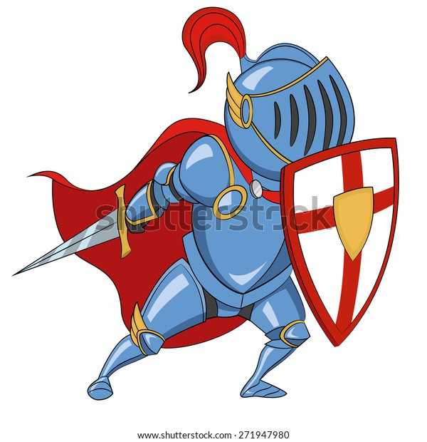 Knight with shield. raster illustration.