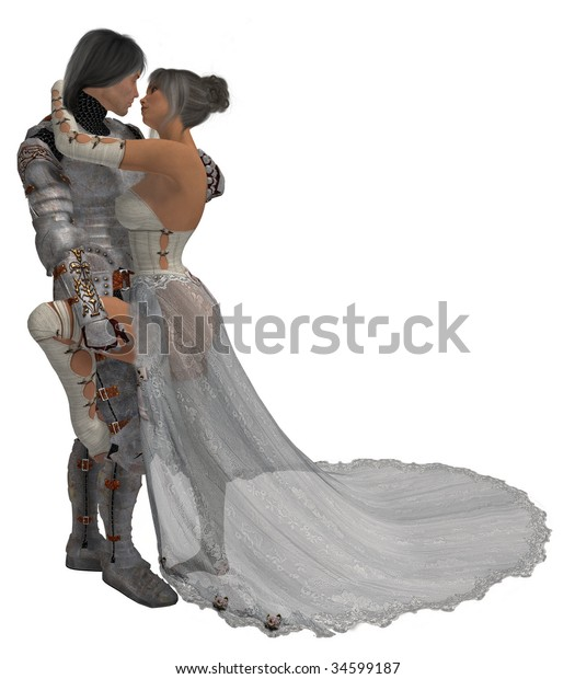 Knight in shining armor with his queen