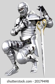 Knight in shining armour on grey background