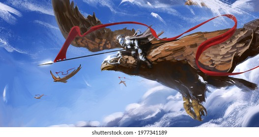 A knight in shining iron armor flies on a huge eagle, holding a spear with a red long log, against the background of a blue sky with clouds, his comrades fly. 2d illustration