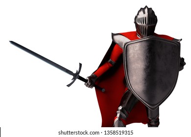Knight with sword and metal shield on white background 3D illustration