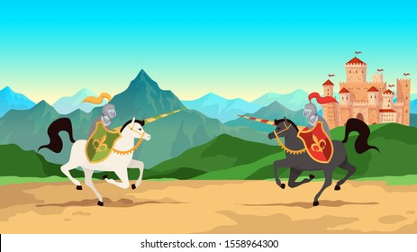 Knight tournament. Battle between medieval warriors in metal armour with lance weapons riding horses. Historical knightly war, jousting men cartoon background