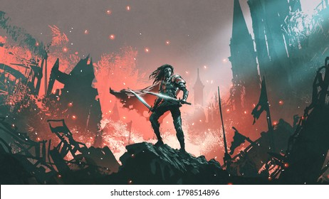 knight with twin swords standing on the rubble of a burnt city, digital art style, illustration painting